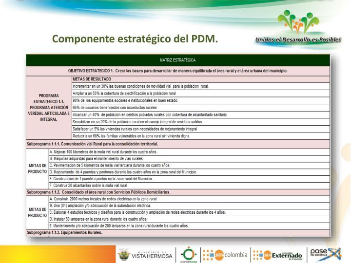 Componente estratégico del PDM.
