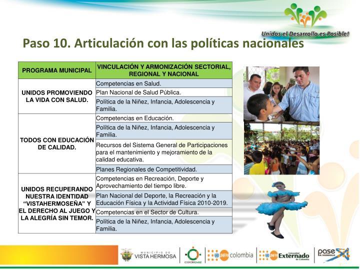 Paso 10. Articulación con las políticas nacionales