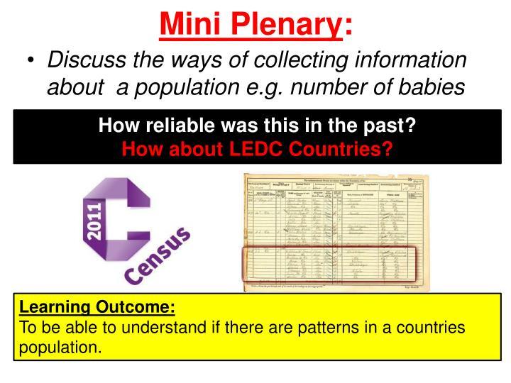 Mini Plenary