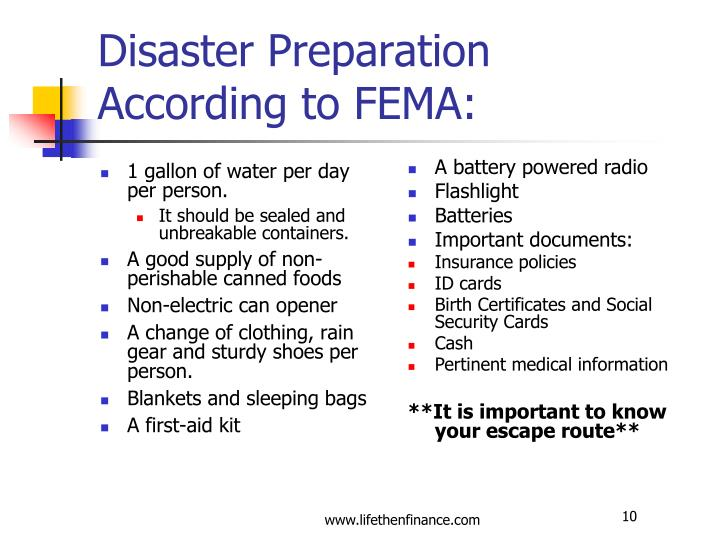 Disaster Preparation According to FEMA: