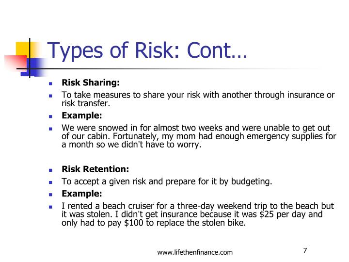 Types of Risk: Cont…