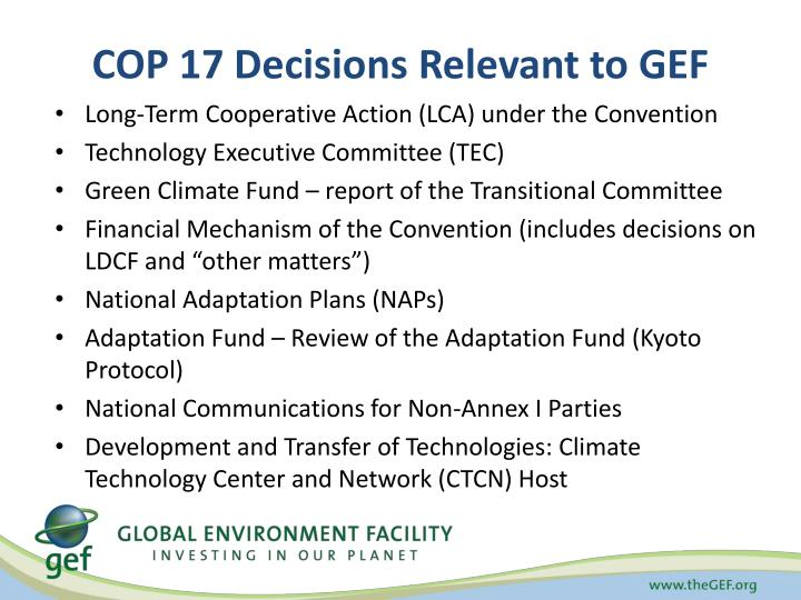 Cop 17 decisions relevant to gef
