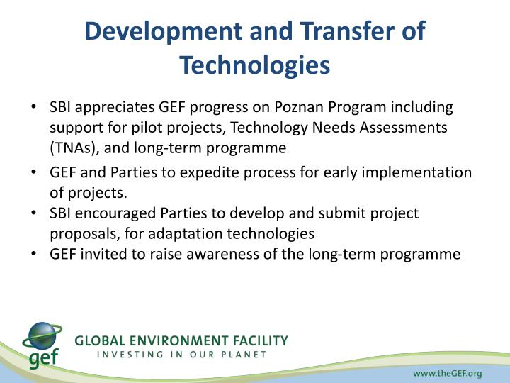 Development and Transfer of Technologies