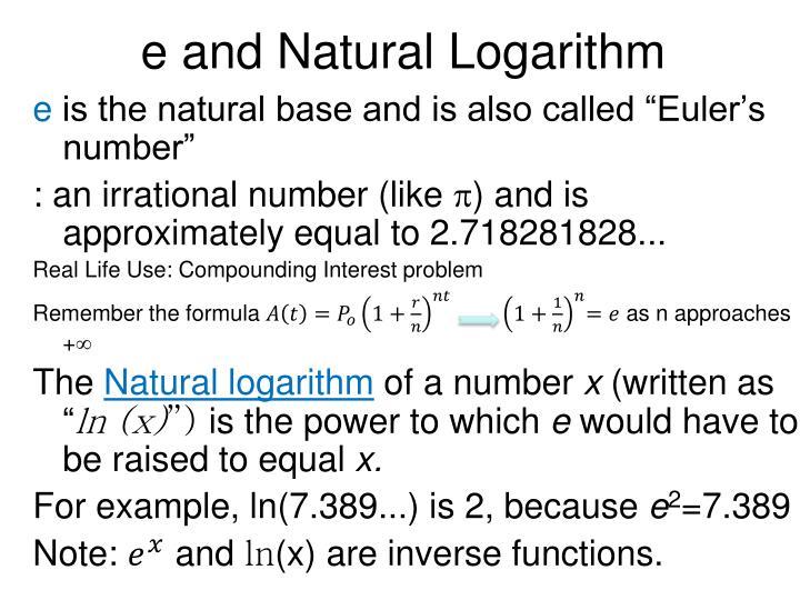 e and Natural Logarithm