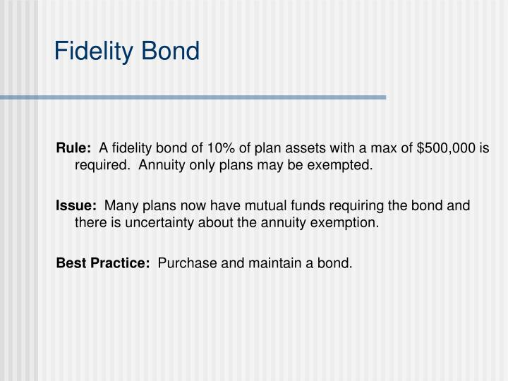 Fidelity Bond