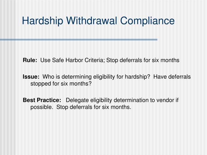 Hardship Withdrawal Compliance