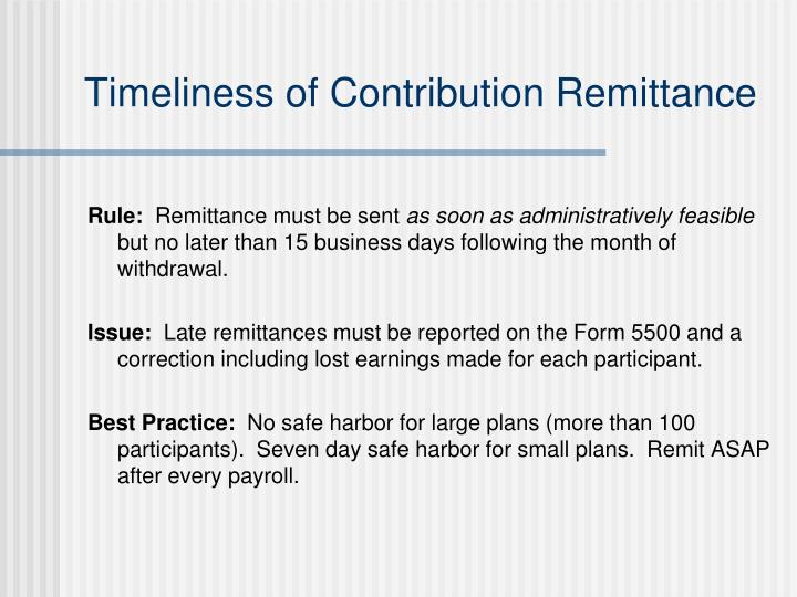 Timeliness of Contribution Remittance