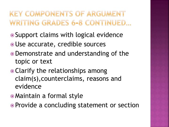 Key Components of argument writing grades 6-8 continued…