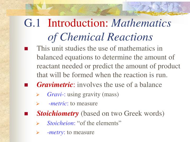 G 1 introduction mathematics of chemical reactions