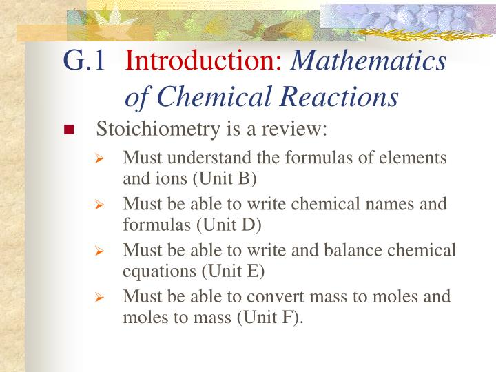 G 1 introduction mathematics of chemical reactions1