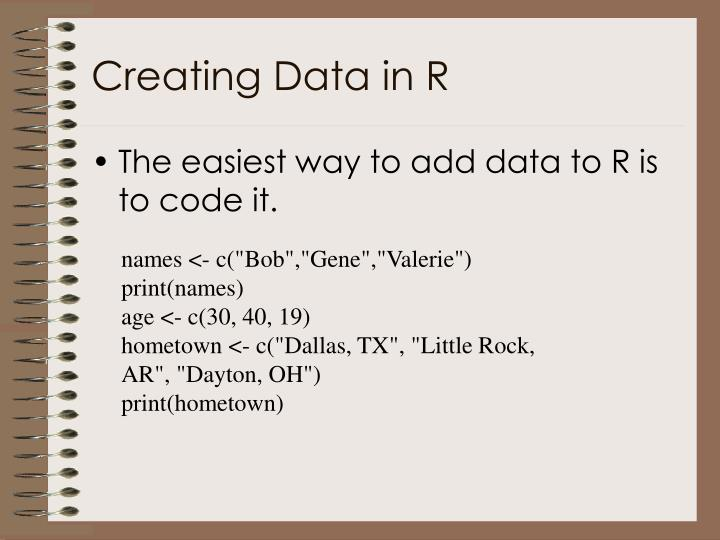 Creating Data in R