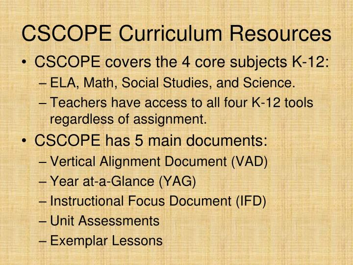CSCOPE Curriculum Resources