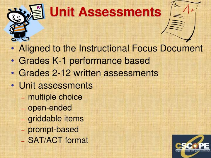 Unit Assessments