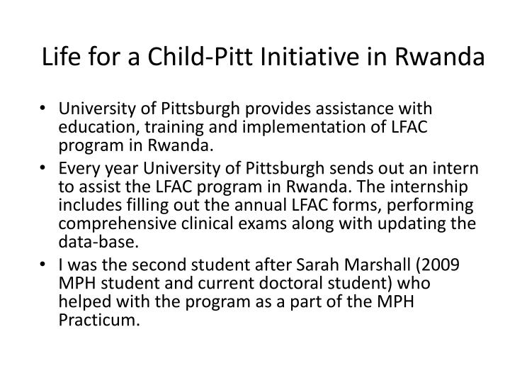Life for a Child-Pitt Initiative in Rwanda