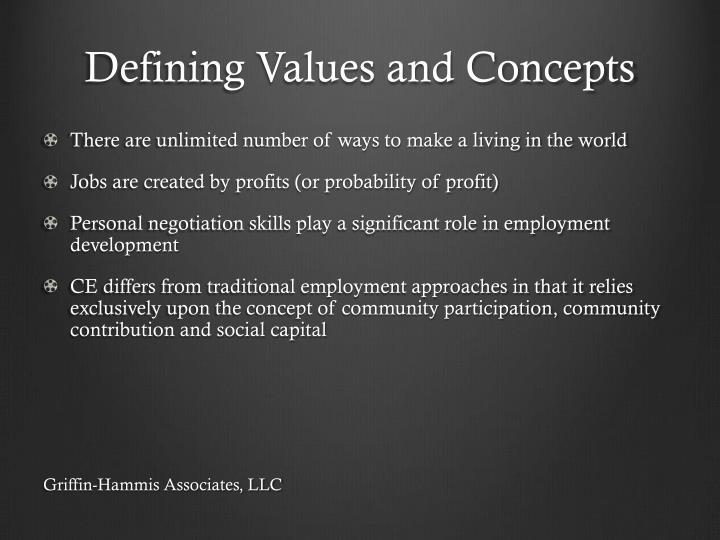 Defining Values and Concepts