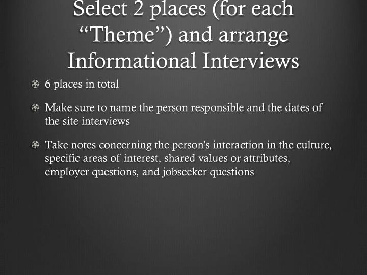 "Select 2 places (for each ""Theme"") and arrange Informational Interviews"