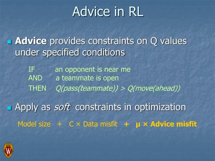 Advice in RL