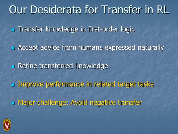 Our Desiderata for Transfer in RL