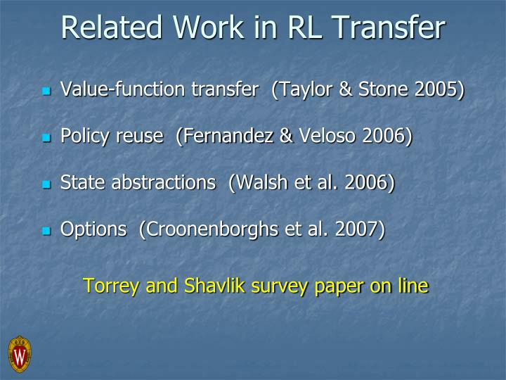 Related Work in RL Transfer