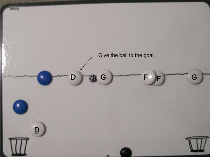 Give the ball to the goal.