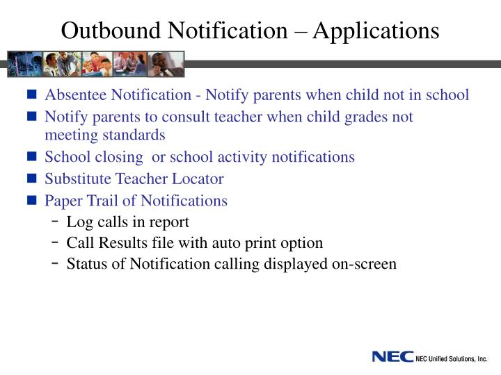 Outbound Notification – Applications
