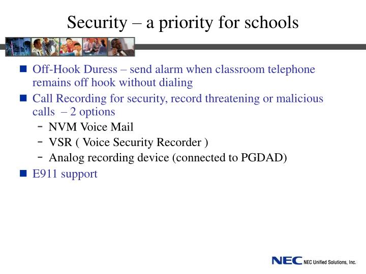 Security – a priority for schools