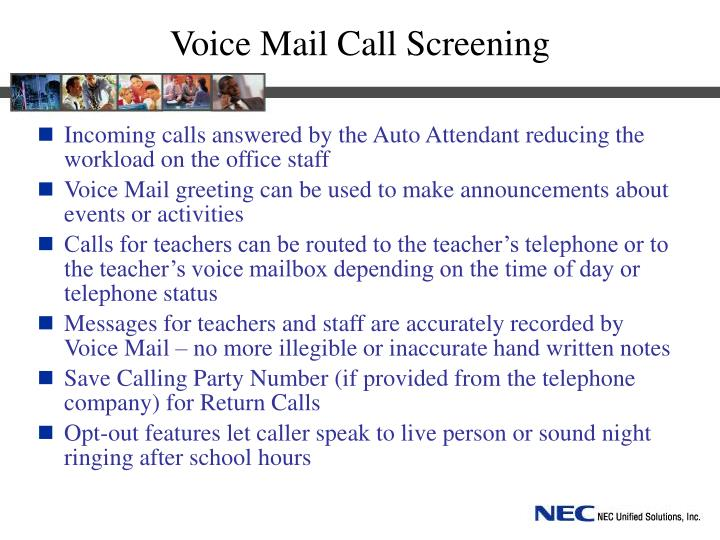 Voice Mail Call Screening