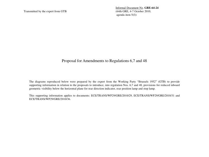 Proposal for Amendments to Regulations 6,7 and 48