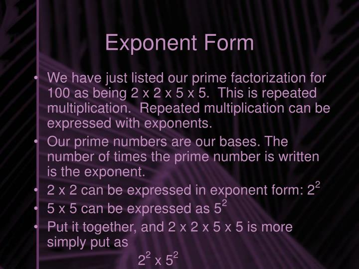 Exponent Form