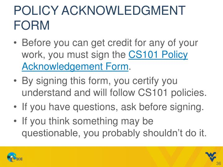 Policy Acknowledgment form