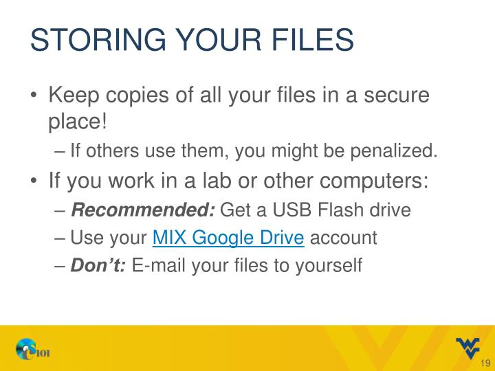 Storing your files
