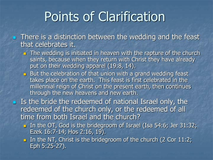 Points of Clarification