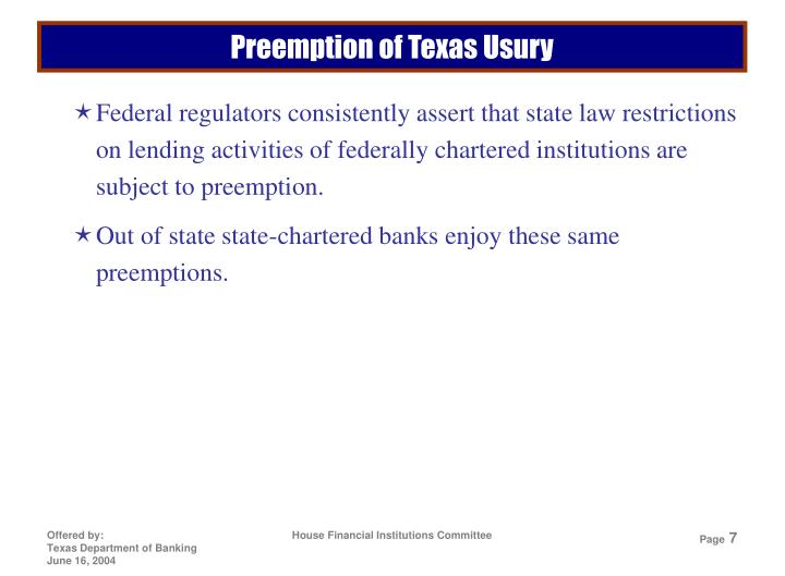 Preemption of Texas Usury