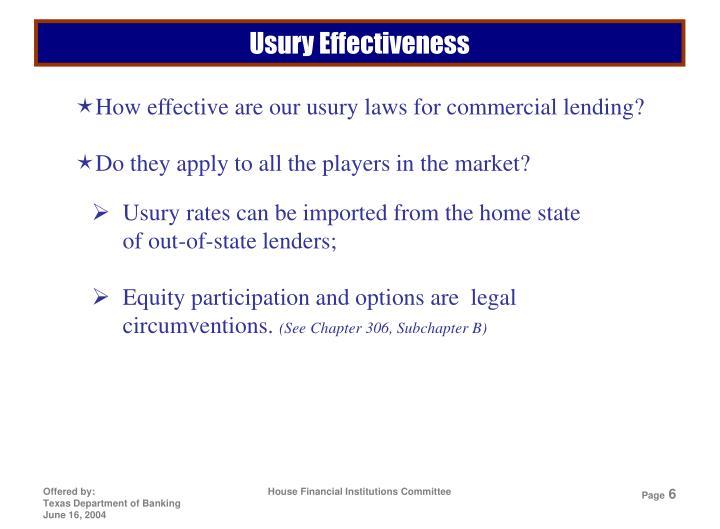 Usury Effectiveness