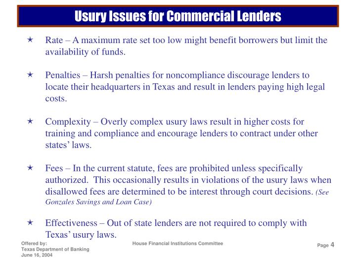 Usury Issues for Commercial Lenders
