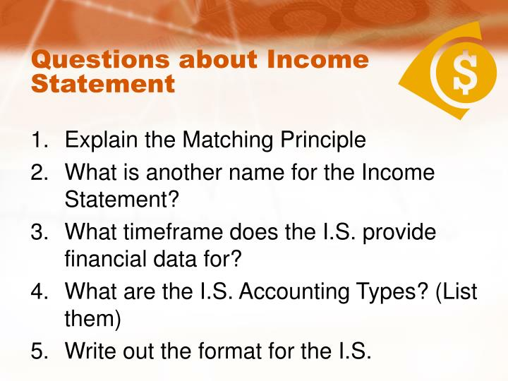 Questions about Income Statement
