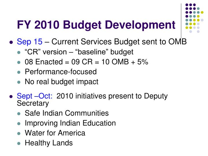 FY 2010 Budget Development