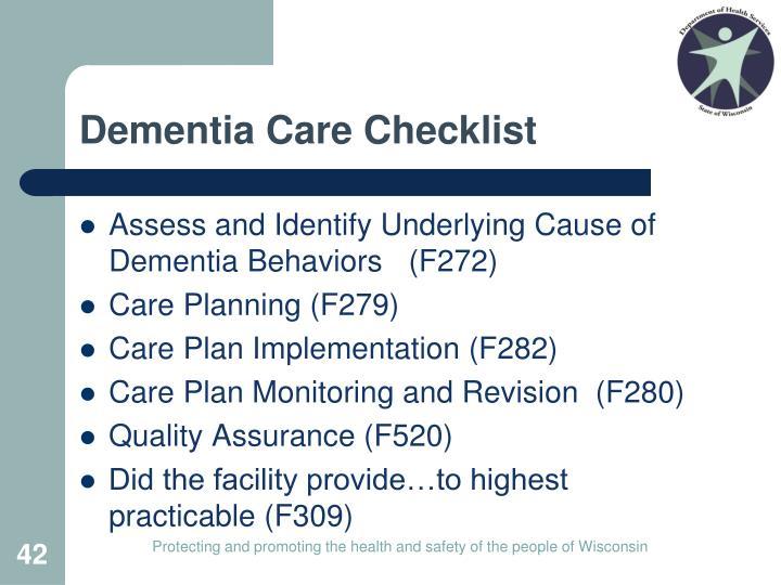 Dementia Care Checklist
