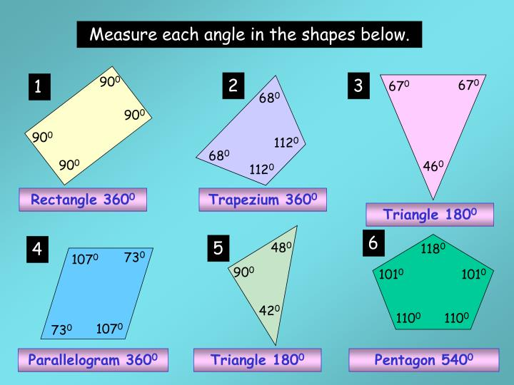 Measure each angle in the shapes below.