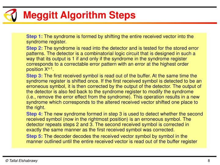 Meggitt Algorithm Steps