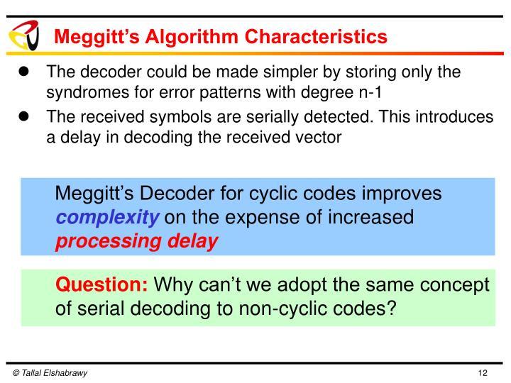 Meggitt's Algorithm Characteristics