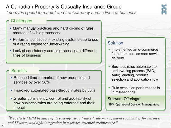 A Canadian Property & Casualty Insurance Group
