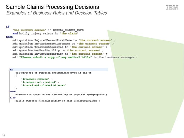 Sample Claims Processing Decisions