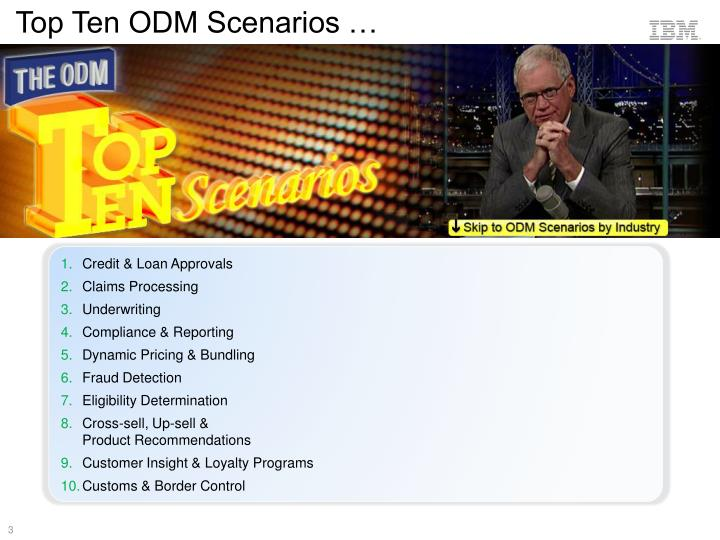 Top Ten ODM Scenarios …