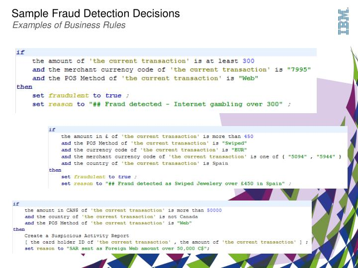 Sample Fraud Detection Decisions