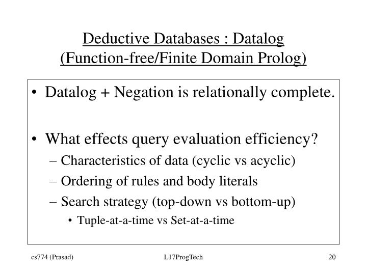 Deductive Databases : Datalog
