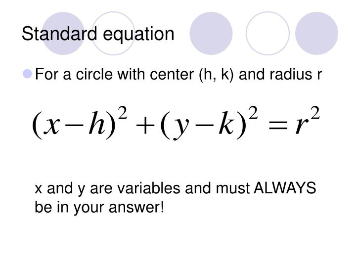 Standard equation