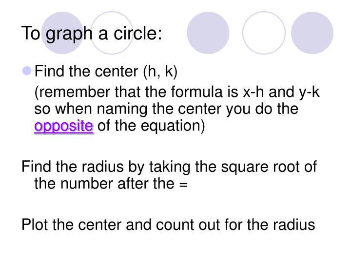 To graph a circle: