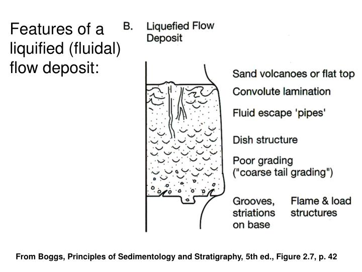 Features of a liquified (fluidal) flow deposit: