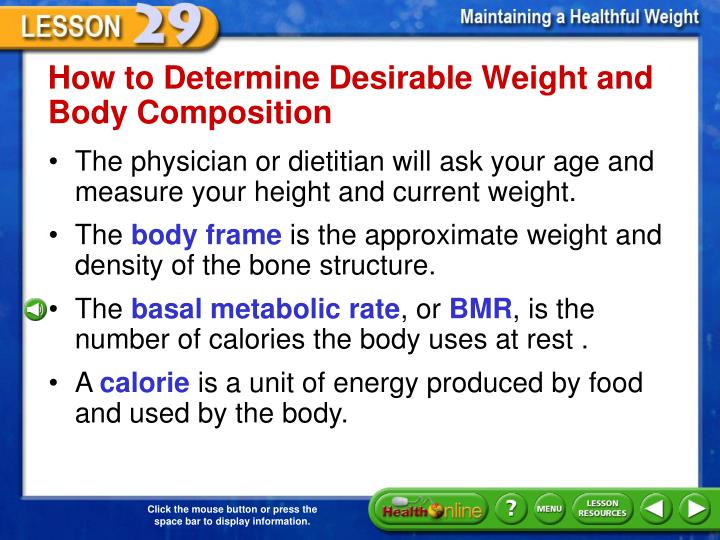 How to Determine Desirable Weight and Body Composition